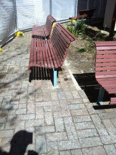 Paving Repair: Public Space. www.pavingcanberra.com   Paving Design: 90 degree Herringbone. Paving Product: Canberra Brick - Brown. Landscaping: Reinstall 3 bench seats.