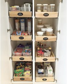 Categorize pantry drawers so each one can be designated to make sense to your needs. Use hermetic canisters for staples and label if… Kitchen Drawer Organization, Home Organisation, Pantry Storage, Kitchen Storage, Kitchen Decor, Pantry Diy, Garage Organization, Organizing Ideas, Kitchen Pull Out Drawers