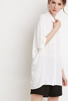 Oversized Button-Back Shirt | LOVE21 | #f21contemporary
