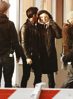 Colin and Jennifer on set of Once Upon a Time