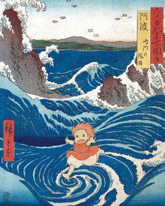 Ponyo Studio Ghibli and Naruto Rapids Japanese old painting Japanese Poster, Japanese Prints, Japanese Art, Studio Ghibli Poster, Studio Ghibli Art, Et Wallpaper, Anime Scenery Wallpaper, Totoro, Japanese Animated Movies