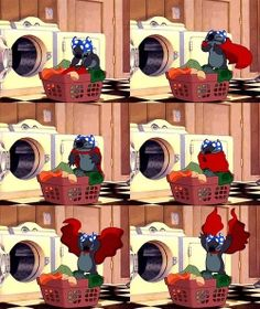 Lilo & Stitch I do ths wit my laundry !lol <-- thats funny :D Disney Memes, Disney Films, Disney Cartoons, Disney And Dreamworks, Disney Pixar, Funny Disney, Cute Disney Wallpaper, Cute Cartoon Wallpapers, Disney Love