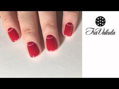 Half Moon red manicure Nail Art - Дизайн ногтей: Лунный маникюр - YouTube