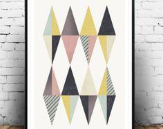 Minimalist wall art Triangle print Nordic style by Wallzilla