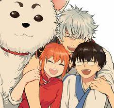 Gintoki, Sadaharu, Kagura and Shinpachi 🐉 - Gintama Neko, Kamui Gintama, Samurai, Manga Anime, Anime Art, Gintama Funny, Gintama Wallpaper, Okikagu, Me Me Me Anime