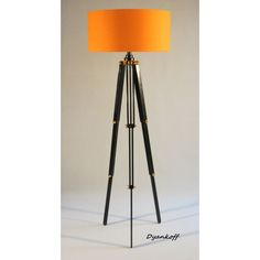 Handmade Tripod Floor lamp,flexible wooden stand in glossy black and... ($288) ❤ liked on Polyvore featuring home, lighting, floor lamps, orange lamp, handmade lampshades, wooden floor lamps, wooden lampshade and wooden shades