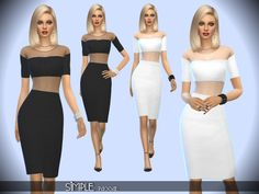 Simple dress, black and white, elegant and classy, top with transparences, knee length skirt. Found in TSR Category 'Sims 4 Female Young Adult Party'