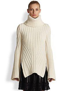 Alexander McQueen Funnel Neck Wool & Cashmere Sweater -- From saksfifthavenue.com