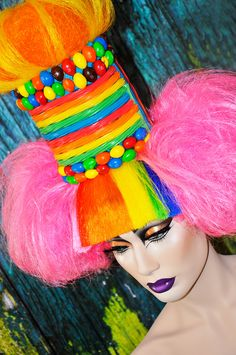 Willy Wonkas Mistress Headdress  Headpice Wig Clown Cosplay lolita Candy Cotton candy mad hatter