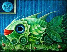 Sugar and spice: the enchanted art of Leszek Kostuj Modern Art Pictures, Dynamic Painting, Pop Surrealism, Visionary Art, Fish Art, Surreal Art, Art Google, Love Art, Concept Art