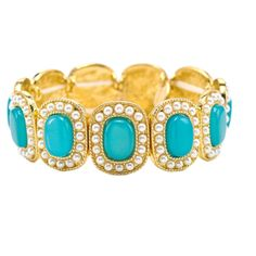 Gold, turquoise and pearl bracelet