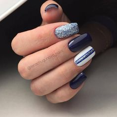Blue and white nails, brilliant nails, Fall nail ideas, Fall nails trends, Glitter nails ideas, Long nails, Two color nails, White and blue nails with rhinestones