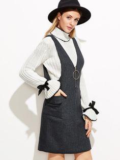 Shop V Neck Zipper Trim Pinafore Dress With Pockets online. SheIn offers V Neck Zipper Trim Pinafore Dress With Pockets & more to fit your fashionable needs.