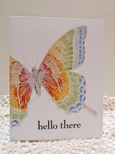 handmade greeting card from Sleepy in Seattle . on layer . giant swallowtail stamped in white and colored with concentric waves of colors in rainbow order . Rainbow Butterfly, Butterfly Cards, Giant Butterfly, Handmade Greetings, Greeting Cards Handmade, Card Making Inspiration, Making Ideas, Bee Cards, Beautiful Handmade Cards