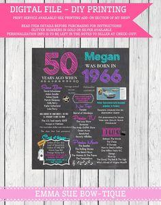 1966 ... 50th Personalized Birthday Chalkboard Sign ***Digital File*** - DIY Printing -