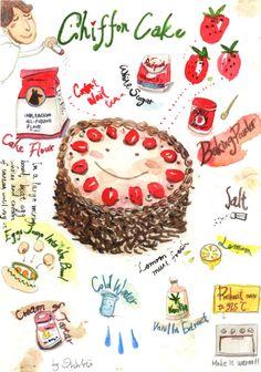 Chiffon Cake_colorpencil, watercolor, ink_19.8 x 27.3 cm_2014 March.