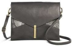 Mossimo Women's Snake Skin Detail Pushlock Crossbody Handbag - Gray - MossimoTM