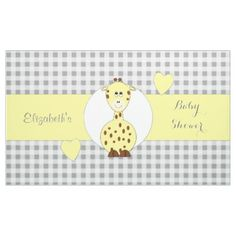 Personalized Gingham Baby Shower giraffe Banner - baby gifts child new born gift idea diy cyo special unique design