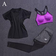 Women's Sport Yoga Sets Fitness Pants Yoga Leggings Elastic Tights Running Gym Bra+Breathable Pants+T-shirt 3Pcs/Set Clothes