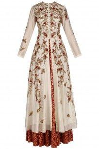 Cream Floral Embroidered High Slit Kurta and Skirt Set