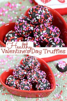 Healthy Valentine's Day Truffles recipe - made with dates and cocoa powder these holiday energy bites are a tasty recipe perfect for gifts or Valentine's Day recipe or dessert making. No added sugar… More
