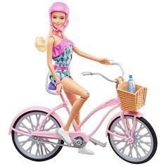 Barbie Bike and Doll With Accessories Mattel Item # for sale online Mattel Barbie, Barbie Sets, New Barbie Dolls, Barbie Stuff, Doll Clothes Barbie, Barbie Doll House, Barbie Bike, Happy Birthday Doll, Pink Helmet