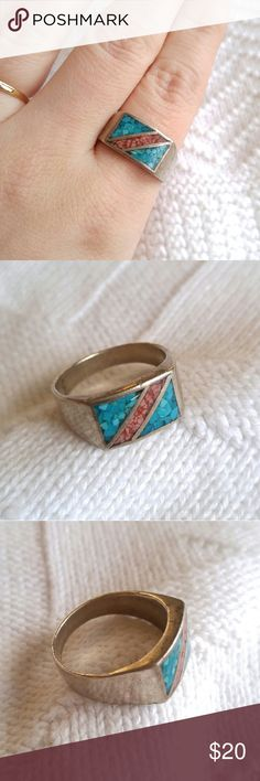 Vintage native ring turquoise silver tone This beautiful vintage ring is made of crushed turquoise and red stone set in silver tone metal. Size 11.  It is in nice shape with light surface wear. Metal content unknown- there are no stamps inside the band. From a smoke free home :)   FOXE8388RING888 Vintage Jewelry Rings