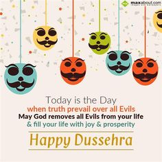 Today is the Day when truth prevail over all evils May God removes all Evils from your life & fill your life with joy & prosperity Happy Dussehra. Dussehra Wishes In Hindi, Happy Dussehra Wishes, Dasara Wishes, Happy Dusshera, Dussehra Images, I Love You God, Navratri Festival, October Crafts, Diwali Wishes