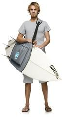 Surfboard Sling Carrier - Shortboard up to 7'6 surfboard sling carries surfboards without a bulky / heavy surfboard bag easiest sling to use - no fiddly buckles or straps to get tangled! one step velcro closure, attaches tight and secure around your board in seconds! 2 handling options - sling handle or shoulder strap