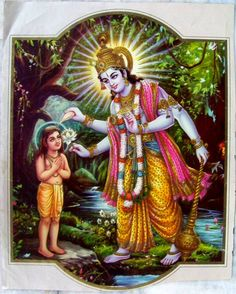 SB 4.9.4: Although Dhruva Mahārāja was a small boy, he wanted to offer prayers to the Supreme Personality of Godhead in suitable language. But because he was inexperienced, he could not adjust himself immediately. The Supreme Personality of Godhead, being situated in everyone's heart, could understand Dhruva Mahārāja's awkward position. Out of His causeless mercy He touched His conchshell to the forehead of Dhruva Mahārāja, who stood before Him with folded hands.
