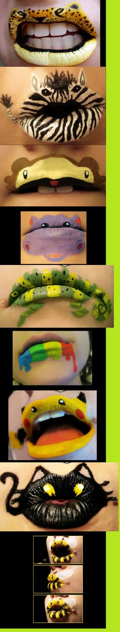 these are so cute i could soooo do these, well im not sure what he used, but i could def do it w my face paints no prob..lips by http://viridis-somnio.deviantart.com/gallery/?offset=168