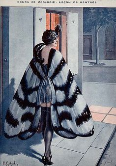 """Costume inspiration: circa Flapper style moth by Henri Gerbault from """"La Vie Parisienne Retro Halloween, Vintage Halloween Costumes, Halloween Clothes, Spirit Halloween, 1920s Halloween Costume, Halloween Wings, Classy Halloween, Fancy Costumes, Halloween Cosplay"""