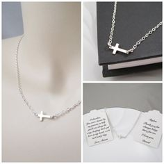 Dainty Sterling Silver Sideways Cross Necklace by Pretty Twisted Jewelry, $26.00