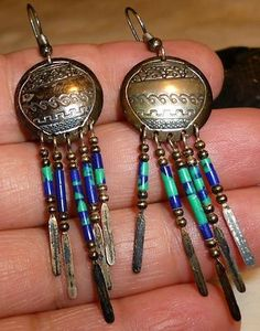 Sold! Darling and delightfully detailed!  Vintage Pr Navajo Sterling Dangle Shield & Feather Earrings Signed WONDERFUL - $68.95 by mitzi