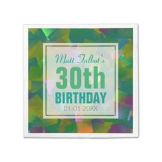 Abstract Cubist Shapes 30th Birthday Paper Napkins