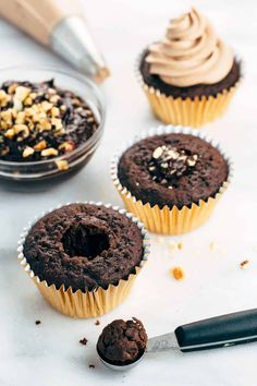 Ferrero Rocher inspired cupcakes with chocolate ganache filling and Nutella hazelnut buttercream