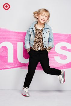 Simple way for girls to take sporty-chic to the next level this school year? Dress up a pair of Stevies sneakers with Cherokee pants, print cardigan and jean jacket. Comfortable, fashionable and only at Target.
