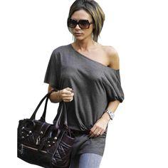 Women Loose Plain T-Shirt Batwing Sleeve Casual Top Blouse E111