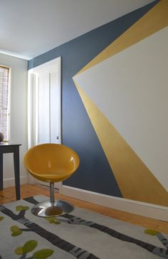 Get decorative wall Painting ideas and creative design tips to colour your interior home walls with Berger Paints. check out Inspirational wall design tip for interior walls. Geometric Wall Paint, Geometric Painting, Gold Rooms, Gold Walls, Blue And Gold Bedroom, Diy Wand, Metal Tree Wall Art, Wall Wood, Bedroom Paint Colors