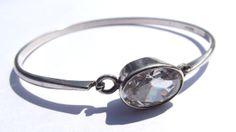 Danish KARL HENRIK HANSEN Mid Century Modern/Modernist sterling silver and rock crystal bracelet/bangle.  Copenhagen,  Denmark 1959-73.