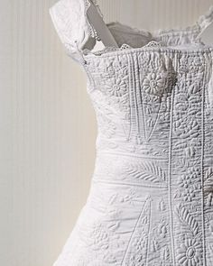 Quilted corset circa 1830 from the collection of Helen Flynt in Historic Deerfield via Martha Stewart