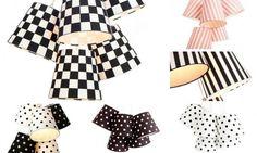 Klyngelampe med striper, prikker og sjakkmønster - 5-skjermet Klyngependel i bomull fra Straale® | Lunelamper.no nettbutikk | Lamper på nett til 100% fri frakt