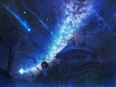 Sky Anime, Anime Galaxy, Anime Art, Anime Places, Galaxy Background, Anime Scenery, Fantasy World, Stargazing, Night Skies