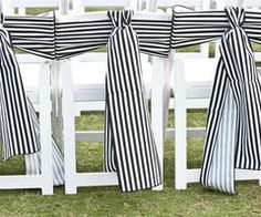 black and white striped chair ties #wedding