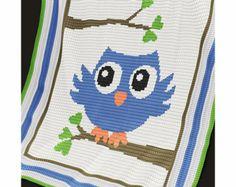 Ravelry: Baby Blanket / Afghan - Blue Owl pattern by Elena Balyuk Graph Crochet, Owl Crochet Patterns, Owl Patterns, Knitting Patterns, Baby Afghans, Baby Blanket Crochet, Crochet Baby, Double Crochet, Single Crochet