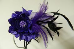 Vintage purple flower with feathers hair clip or by aprilsunrises Love Blue, Purple And Black, Colorful Flowers, Purple Flowers, Feather Hair Clips, Feathered Hairstyles, Hair Pieces, Fascinator, Feathers