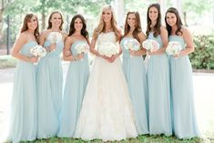 Light blue bridesmaid dresses! Absolutely STUNNING! Belo Mansion Wedding ©Jennefer Wilson