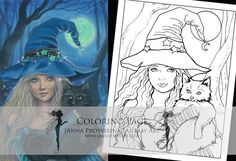 Digital Stamp, Printable, Instant download, Digi stamp, Coloring page, Samhain,Art of Janna Prosvirina Coloring Books, Coloring Pages, Create Collage, Fairs And Festivals, White Image, Digi Stamps, Samhain, Collage Sheet, My Images