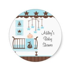 Sweet Blue Baby Room Baby Shower Sticker
