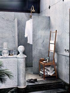 To quote William Morris: do not have anything in your home that you do not know to be useful or believe to be beautiful. I give you the towel rack chair. More on the blog today.